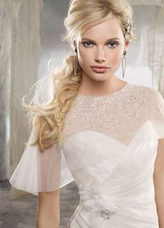 Sparkly removable capelet, from Alvina Valenta Spring 2012, shown with gown style no. AV9208.