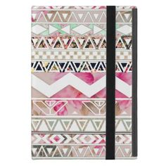 Girly Pink White Floral Abstract Aztec Pattern Cover For iPad Mini