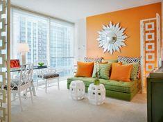 Modern Living Room Orange orange design ideas | gold sunburst mirror, orange walls and