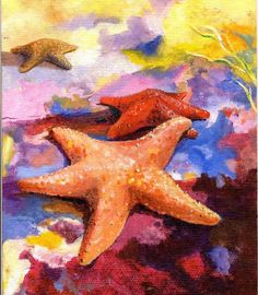 Starfish in LOVE. Colorful Ocean Beach House Decor Acrylic Painting Quality Art print by Barry Singer Starfish Painting, Starfish Art, Turtle Painting, Love Painting, Pumpkin Display, Underwater Painting, Wine And Canvas, Sidewalk Chalk Art, Beach Art
