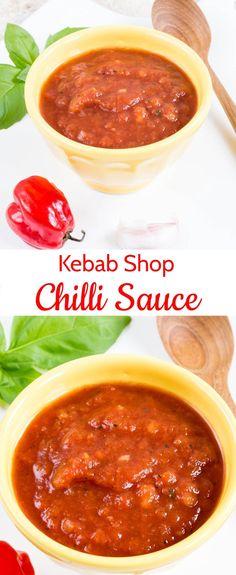 Kebab Shop Chilli Sauce / Hot Chilli Sauce (Vegan, Whole Kebab shop chilli sauce – takeaway style, authentic, no cook and as hot as you like. Chilli Recipes, Kebab Recipes, Sauce Recipes, Cooking Recipes, Pepper Recipes, Dip Recipes, Delicious Recipes, Recipies, Slimming World Kebab