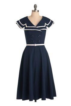 Tatyana 60's Vintage Sailor Pinup Sexy Navy Captain Circle Navy Swing dress