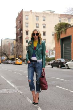 Leather coat with boyfriend jeans. #leather #fall #fashion