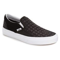 Men's Vans 'Classic' Slip-On Sneaker ($60) ❤ liked on Polyvore featuring men's fashion, men's shoes, men's sneakers, black suede, mens black slip on sneakers, mens suede shoes, mens sneakers, mens black slip on shoes and mens black suede shoes