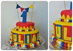 Torta de Piñón Fijo Circus Party, Birthday Cake, Desserts, Cakes, Food, Tortilla Pie, Pastries, Food Cakes, Fixed Gear