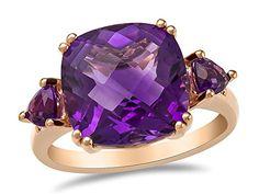 LALI Classics 14kt Rose Gold Amethyst Cushion Ring