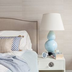 Interior design by Allison Lind Interiors • Photo by Regan Wood Photography   interior design - seattle interior design - seattle interior designer - bedroom - grasscloth - texture wallpaper - wallpaper - jonathan adler - white nightstand