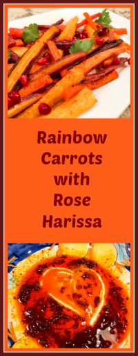 RAINBOW CARROTS WITH ROSE HARISSA Pomegranate Molasses, Pomegranate Seeds, Rose Harissa, Simple Cookbook, Harissa Chicken, Middle Eastern Recipes, Deviled Eggs, Large Bowl, Pulled Pork