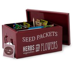 Gather and keep all of your seeds in order of planting month in this trendy and functional storage tin. It comes with a wooden pencil monthly dividers 5 special seed storage envelopes to get gardeners starting their own collection and has carrying Seed Storage, Wooden Pencils, Seed Packets, Garden Gifts, Garden Accessories, Grow Your Own, Storage Solutions, Bordeaux, Toy Chest
