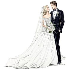 A little bit of wedded love for you this evening, classic bridal beauties, happy (early! Wedding Drawing, Wedding Dress Sketches, Wedding Painting, Wedding Art, Wedding Images, Wedding Pics, Wedding Couples, Wedding Designs, Wedding Dresses