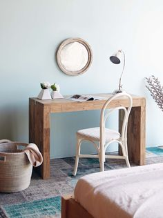 L'Atelier Console #Bedroom #Styling #Interior #Teak #Wood  #Blue #White #Furniture