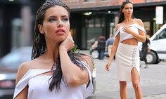 Adriana Lima flaunts her lithe limbs and toned midriff for NYC shoot