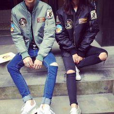 Aliexpress.com: Comprar Soy Me 2016 nueva Harajuku estilo novio parejas básica Bomber Jacket Women empalme insignia ejército verde de béisbol chaquetas y abrigo de chaqueta de abrigo de los hombres fiable proveedores en I AM ME beautiful center