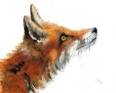 Impression jet d'encre de renard. Illustration à l'aquarelle animale. Rouge et Orange.