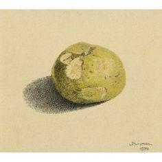 De tanden van Eelkje, 1974 – pentekening en waterverf, 12 x 13 'Je moet je appel opeten', zei ik tegen Eelkje, mijn kleinkind. 'Opa moet hem zelf maar opeten' zei ze, 'hij is zuur.'