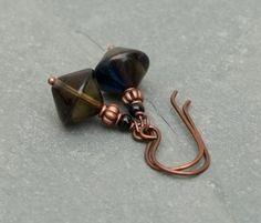 Moody Blue: Czech glass earrings. by BijoubeadsLondon