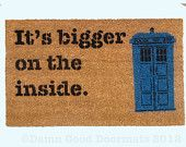 TARDIS Dr. Who doormat WORDS ONLY geekery fan art doormat geek stuff. $40.00, via Etsy.