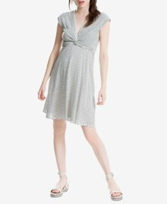 Max Studio London Striped Twist-Front Dress, Created for Macy's - White/Black XS