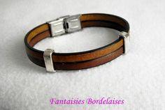 Bracelet vintage pour homme en cuir marron : Bijoux pour hommes par fantaisies-bordelaises