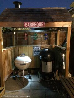 Bbq Shack, Unexpected from backyard patio owned by Stuart Cracknell Outdoor Grill Area, Outdoor Grill Station, Outdoor Bbq Kitchen, Grill Gazebo, Backyard Kitchen, Diy Bbq Area, Outdoor Kitchens, Backyard Sheds, Backyard Patio