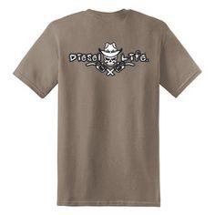 Diesel Life Cowboy Hat Short Sleeve T-Shirt - Brown Savana