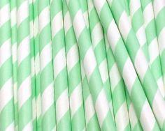 Mint Green Diagonal Striped Paper Straws, 25 pcs