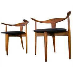 A Pair Of Danish Teak Wood Armchairs Branded Moreddi.c.1960's. $4700