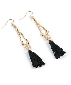 Update your look with these gold plated earrings that feature a dangled three tiered chevron pendant finished with black tassel detailing.
