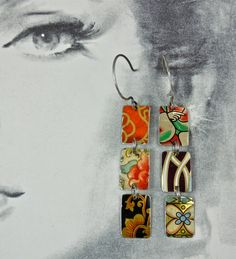 use vintage tin to make earrings