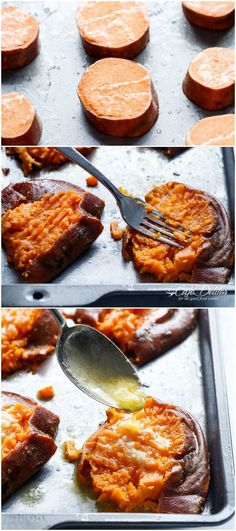 Garlic Butter Smashed Sweet Potatoes With Parmesan Cheese are crispy and buttery on the outside, while soft and sweet on the inside, making way for one of the best ways to eat a sweet potato! | http://cafedelites.com