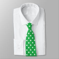 Green polka dot men's tie #ad