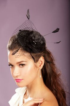 Black Fascinator  Pillbox Hat with Chenille Dotted by AlisaBrides, $70.00