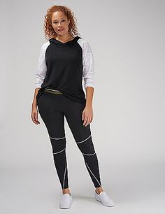 A colorblock LIVI Active hoodie goes sport-chic with perforated sleeves but wraps your torso in our spa fabric. Subtle high-low hem. <br />                                          <br />                                   Meet our softest fabric. Ultra-lush, super-comfy and goes from studio to street in seconds. lanebryant.com