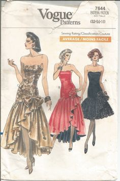 Vintage Vogue Couture Waterfall Dress Pattern 7644 Size 12-16 Bust 34-38 circa 1980 by EvaStAlbans on Etsy