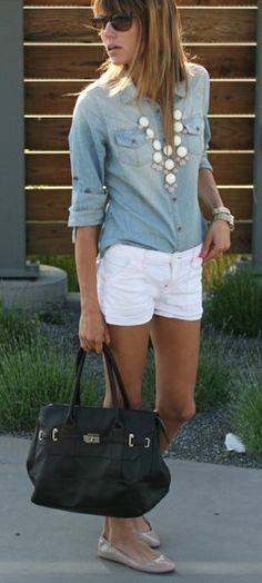 White shorts pair well with chambray...