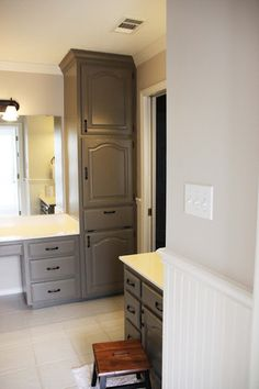 "If I ever paint the bathroom cabinets.Painting Oak Cabinets, ""Mountain Smoke"", kids bathroom renovation use liquid deglosser Mold In Bathroom, Bathroom Renos, Bathroom Cabinets, Bathroom Renovations, Home Renovation, Bathroom Storage, Restroom Cabinets, Kitchen Cabinets, Grey Cabinets"
