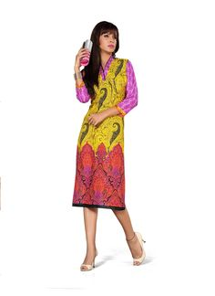 Yellow Printed Fancy Kurti gunjfashion.com