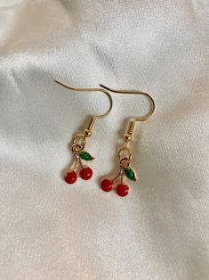 Cherry Earrings, Red Earrings, Cute Earrings, Ear Jewelry, Cute Jewelry, Jewelry Accessories, Jewellery, Diamond Jewelry, Bold Jewelry