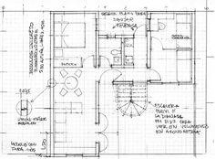 P-22 Segundo Piso de la Unidad de vivienda, dibujo a mano de Manuel Llanos fuente: Manuel Llanos Jhon Arquitectos