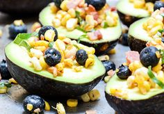 Avocados with Bacon, Corn and Blueberry Salsa by floatingkitchen #Avocado #Blueberries #Bacon #Corn #Healthy #Basil #Lime
