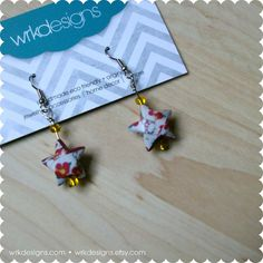 Hello Kitty Origami Lucky Star Paper #Earrings  by #wrkdesigns