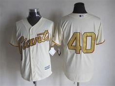 San Francisco Giants #40 Madison Bumgarner Cream With Gold Program 2015 MLB Cool Base Jersey