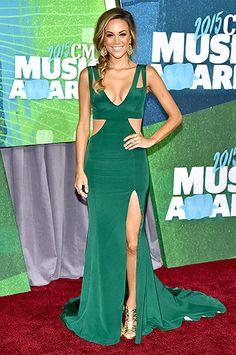 Jana Kramer from 2015 CMT Music Awards Red Carpet Arrivals Evening Dress 2015, Evening Dresses, Celebrity Dresses, Celebrity Style, Celebrity News, Nashville, Tennessee, Emerald Green Gown, Jana Kramer