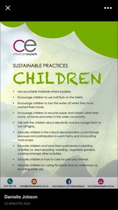 Sustainable practices for children Sustainability Education, Sustainability Projects, Environmental Education, Early Education, Early Childhood Education, Sustainable Practices, How To Make Light, Working With Children, Classroom Management