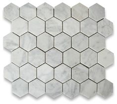 """Carrara white marble 2"""" (from point to point) hexagon pieces mounted on a sturdy mesh tile sheet-6 rows and 6 columns with 36 stones on each sheet-5/16"""""""
