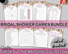 White And Pink Watercolor Flowers Bridal Shower Theme: Games Bundle - word scramble, pink floral bridal, party decorations, prints - 9GOY4 #bridalshower #bride-to-be #bridetobe
