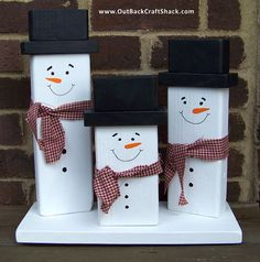 Wood Snowman Christmas Decoration Family of by OutBackCraftShack