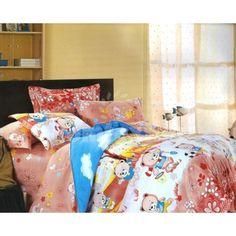 Hnedo - biela obliečka na detskú posteľ s motívmi