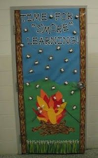 Time For S'more Learning camping theme door