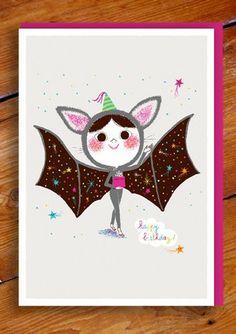 Bat Girl Greetings Card